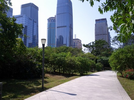 Skyscrapers and green spaces