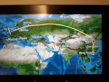 Inflight map: route from Hong Kong to London